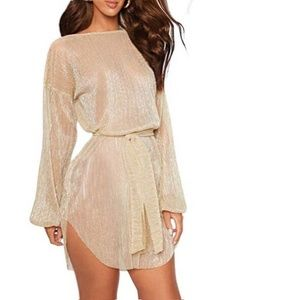 Coventavenue- Tie Waist Semi Sheer Dress